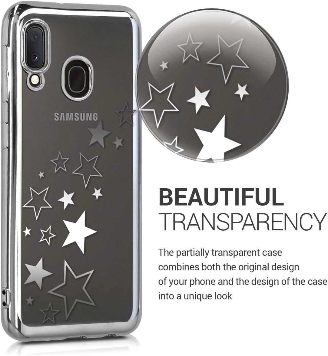 Carcasa Trasera de TPU con dise/ño de Varias Estrellas en Plata//Plata//Transparente kwmobile Funda para Samsung Galaxy A20e
