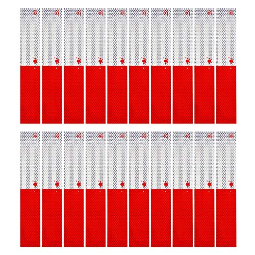 Be-one 20Pcs DOT-C2 Reflective Tape Conspicuity Safety Caution Warning, Trailer Reflector, Visibility Film, 4 by 4 Truck Car Adhesive Sticker(Red/White)