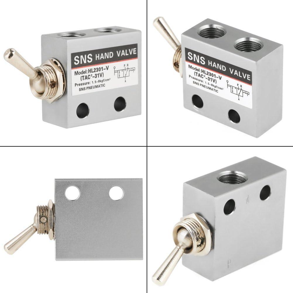 HL2301 3 Position 2 Port Air Pneumatic Knob Switch Valve Metal Toggle Switch Valves Pneumatic Mechanical Air Valve