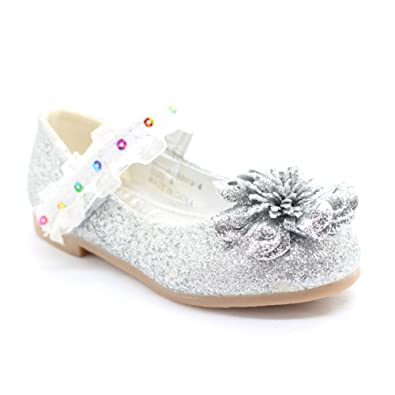 d22c53d2f65 Bee Happy Little Girls Silver Glitter Lace Sequin Trim Flower Dress Shoes  10 Toddler