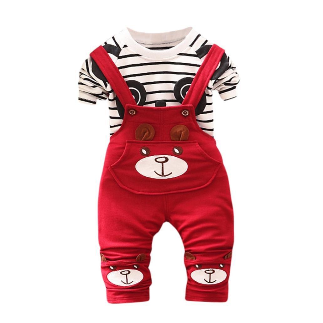 Iuhan Toddler Baby Boys Strip Panda Print Tops+Pants Overalls Outfit Clothes Set