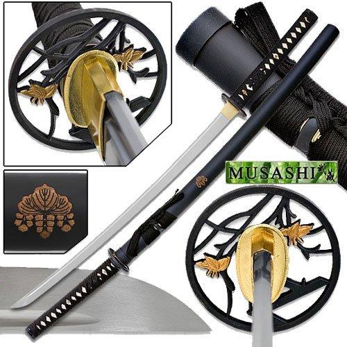 Makoto Hand Made Sharp Japanese Katana Samurai Sword 40    Life Cycle Two Tone Golden Leaf Tsuba