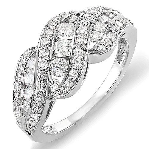 1.00 Carat 14k White Gold Round Diamond Ladies Cocktail Ring