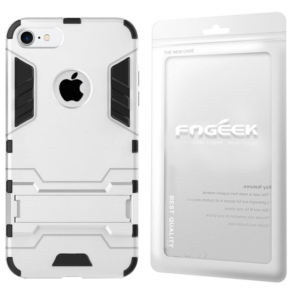 a20c93796e Amazon   Fogeek iPhone8ケース 耐衝撃 iPhone7ケース 衝撃吸収カバー スタンド機能搭載 滑り防止 超頑丈  PC+TPU二重構造 全面保護 耐震 (シルバー)   ケース・カバー ...