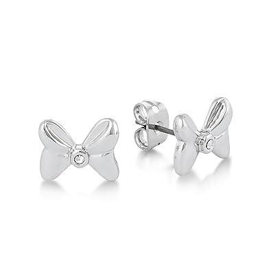 1a882782f4ee Pendientes de lazos de Minnie Mouse de Disney  chapados en oro blanco con  cristal  Amazon.es  Joyería