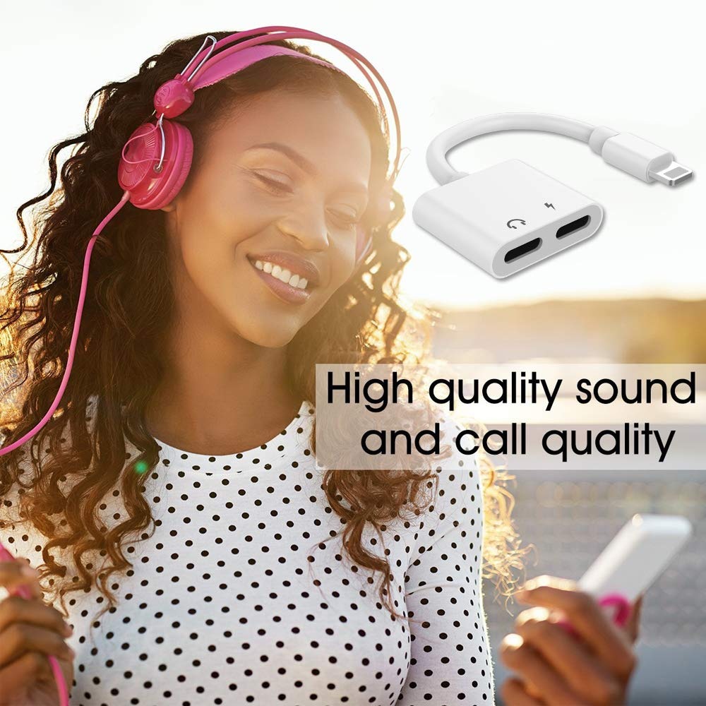 Etre Jeune Dongle Charge & Music, Headphones Jack Earphone Splitter 2 in 1 Audio Charger Adapter Connector for IP X/XS/ XR / 8/8 Plus, White
