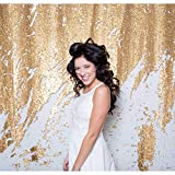 QueenDream 4ftx6.5ft White and Gold Sequin Double-face Fabric sequin backdrop sheer curtains backdrop