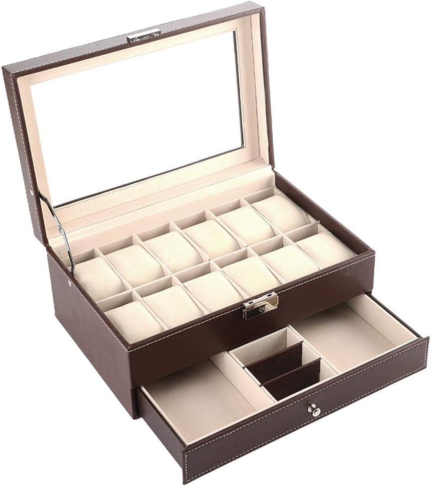 Doubleblack Caja para Guardar Relojes Expositor Joyero para Gemelos, Anillos y Pulseras Marrón