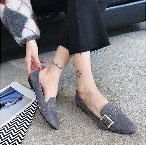 huateng Nuevos Zapatos de Mujer Gamuza Cuadrada Hebilla Zapatos Inferiores Planos Femenina de Gran Tamaño Ocio Zapatos de Trabajo de Viaje de Cuero Gris