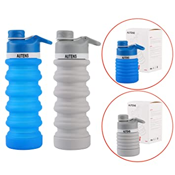 fb4af688738f Amazon.com: AUTENS Travel Water Bottle, Collapsible Silicone Water ...