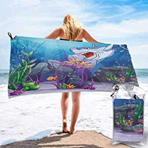 Ahuimin Microfiber Sand Free Beach Towel Blanket, Cartoon Style Underwater World Plants and Evil Shark Chasing Little Fish Illustration 31 x 63 Inch Microfiber Sports Swim Pool Lightweight Blanket