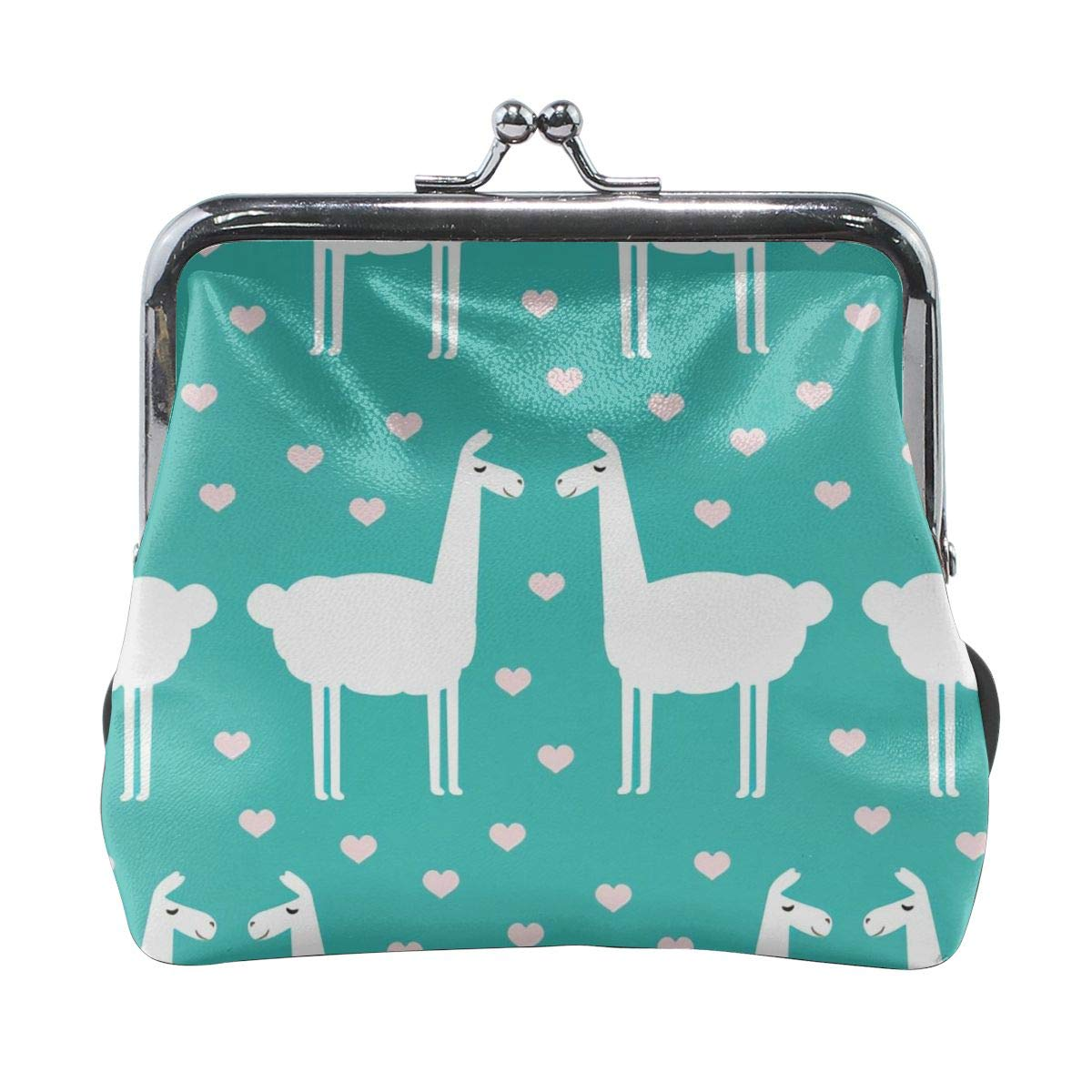 Little Green Love Kiss Llama Vintage Pouch Girl Kiss-lock Change Purse Wallets Buckle Leather Coin Purses Key Woman Printed