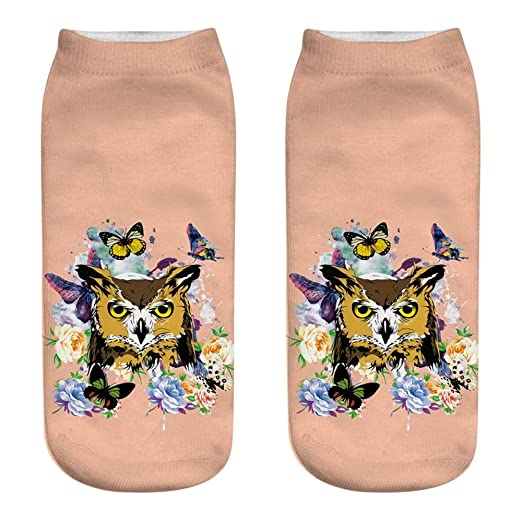 Amazon.com: SaveStore Harajuku Cotton Socks Women Summer 3D Animal Print Cartoon Funny Cute Kawaii Low Cut Ankle Girl Colorful Sock calcetines Mujer: ...