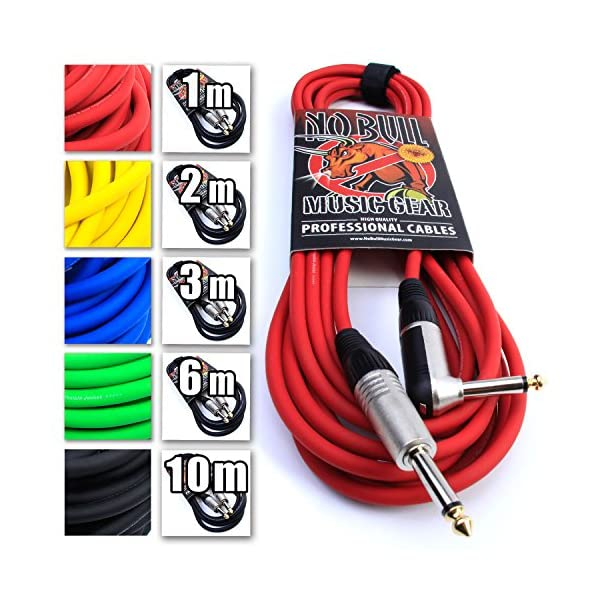 Premium Guitar/Instrument Cable (Red, 20ft / 6m, Straight to Right Angle Plugs) – Heavy Duty Pro 1/4″ Jack to Jack Noiseless Mono Lead – Coloured Link Lead to Amplifier/Amp + Free Cable Tie