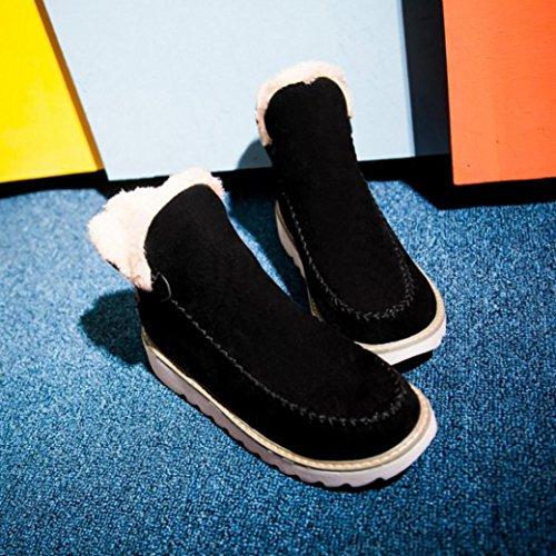 Zapatos De CáLida Planos Piel … Invierno De Forro Nieve Botines Negro Mujer con De Toamen YU7qdY