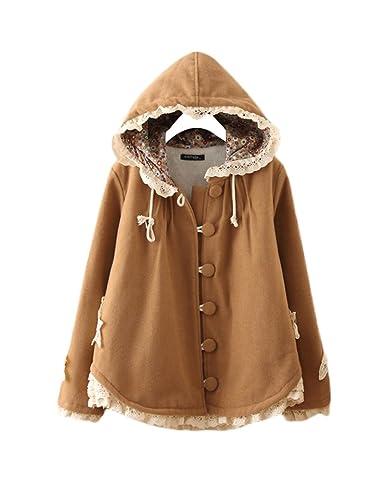 Dulce encaje capa lana abrigo mujer