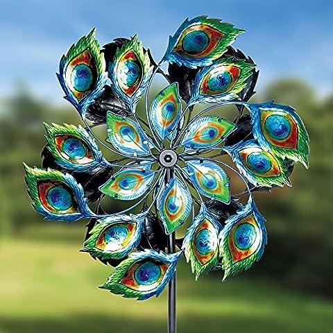 Exhart Giant Peacock Spinner Garden Stake - Kinetic Metal Sculpture