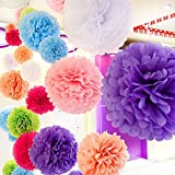 """20 Pcs Tissue Paper Pom Poms Set, 9 Colors, Mixed Sizes 14"""", 10"""", 8"""", 6"""" Paper Flowers, for Wedding, Birthday, Baby Shower, Nursery, Playroom Decor - Multicolor"""