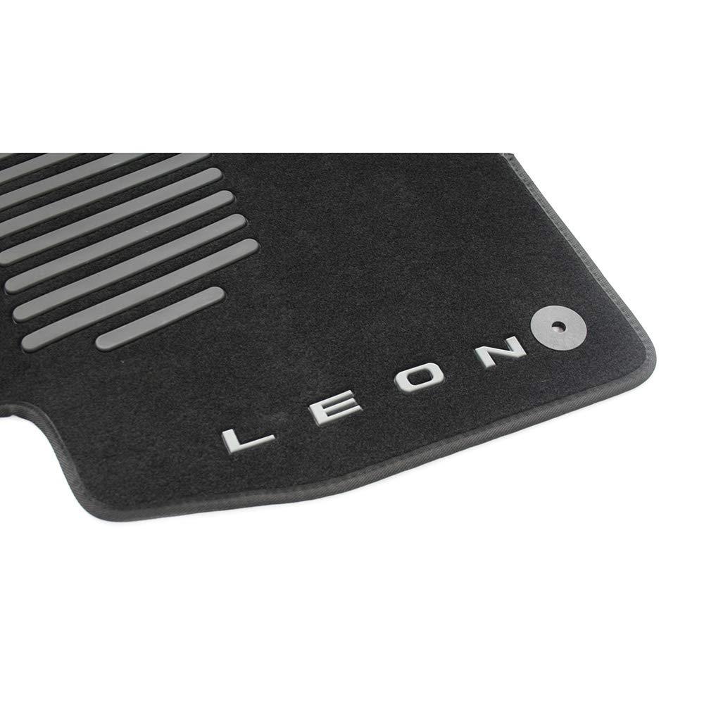in Velluto Nero con Scritta Leon SEAT 5F0061675D041 Trail Set di 4 tappetini per Auto