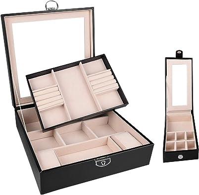 Caja de joyería Organizador de joyas Soporte de 2 capas para mujeres y niñas, compartimentos diversificados, espejo grande, estuche de almacenamiento de pantalla para collares Anillos Pendientes: Amazon.es: Joyería