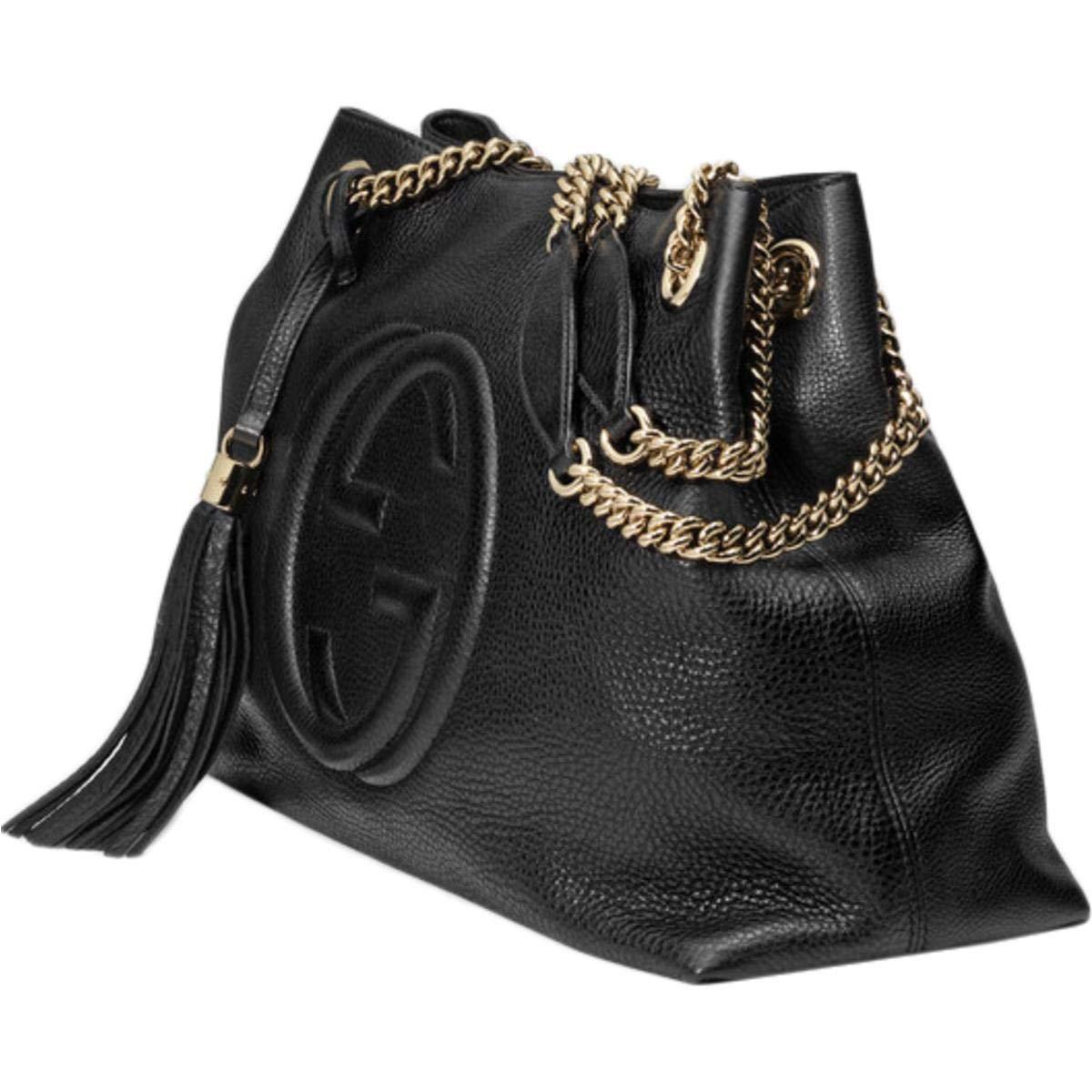 e7f826486 Amazon.com: Gucci Soho Large Leather Chain Shoulder Handbag Black BHFO  5480: Shoes