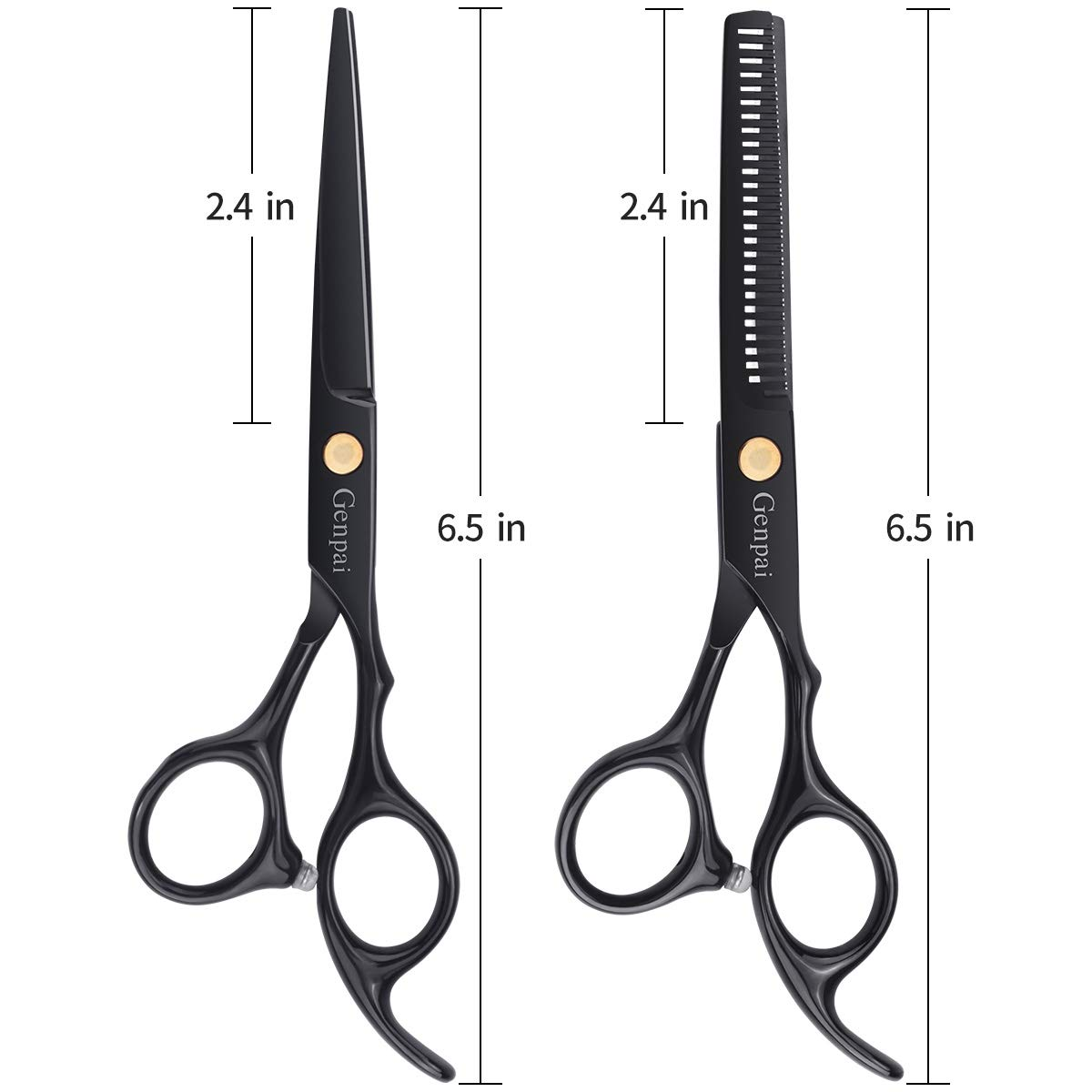 Genpai Hair Cutting Scissors Set, Professional Barber Hair Salon Household Children\'s Stainless Steel Shear Bangs Artifact Thinning Hairdressing Shear with Black Leather Case(Black)