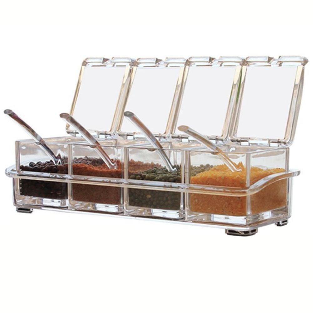 Futurepast 4pezzi acrilico condimento condimento box condimento cucina forniture rack scatole contenitori condimento barattolo con cucchiaini cesto condimento barattolo senza spezie