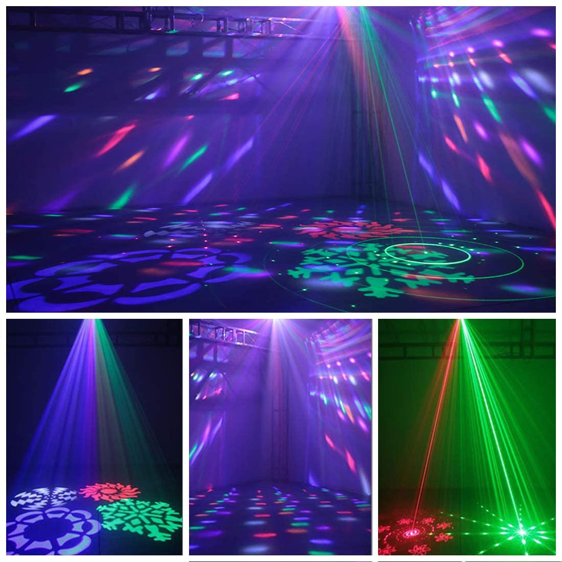 Professional DJ Lights,MARYGEL 4 in 1 Mixed Effect Sound Activated RGBW LED Pattern Party Lights Stage Light for DJ Club Disco Party Wedding Birthday Christmas