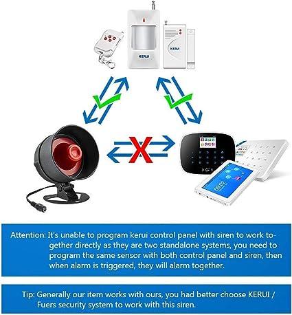 Kerui Plazo de entrega 3-7 d/ías laborables Sistema de alarma inal/ámbrico con detector magn/ético de apertura de puerta//ventana y avisador de intrusi/ón