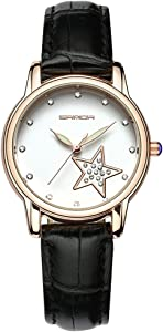 Watches for Women, Fashion Round Dial Watches Luxury Leather Ladies Dress Watch (Black)
