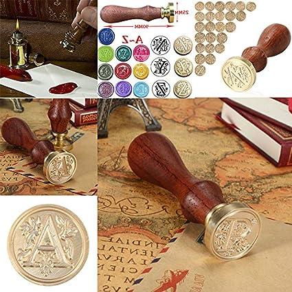 CAOLATOR Siegellack Vintage-Stil Wachs Siegelstempel Siegel Stempel Petschaft Set A-Z Dekorativer Siegel Petschaft Holzgriff 26 Brief B