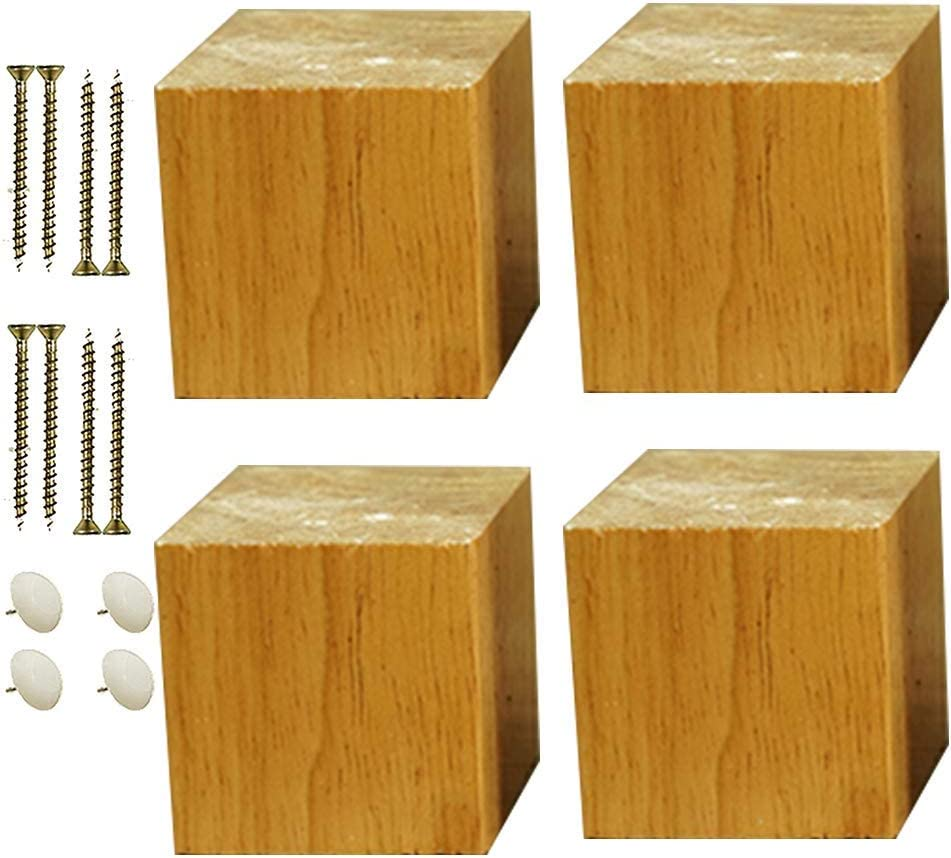 Replacement Furniture Legs sofa legs 4X Solid Wood Furniture Legs,Square Sofa Legs,Replacement Legs,Desk Legs,Lift Furniture Risers,Adds Height to Beds Sofas Cabinets,with Mounting Accessories(black10