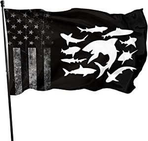 Sharks Flag 3X5Fit Durable for Patio Yard Garden Lawn Cute Funny Individuality Home Outdoor Decor Guide Sign Welcome Sign for Festival Gala Holiday Celemony