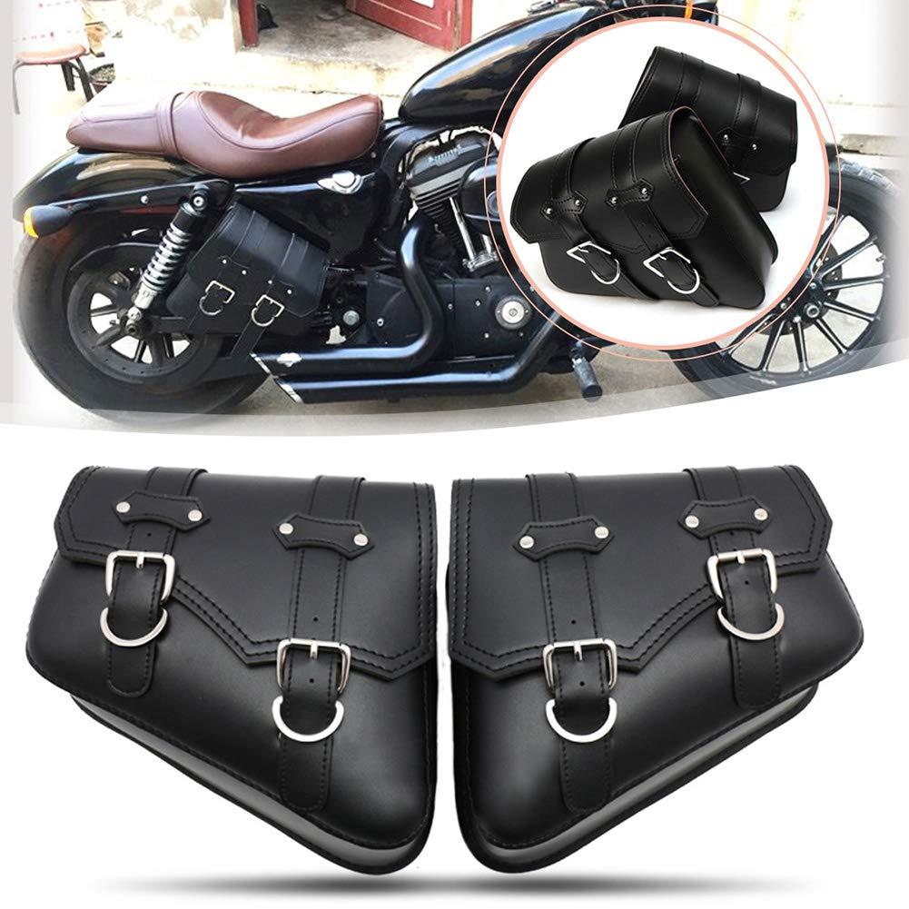 Coppia di Borse laterali in ABS con chiave e borsa a mano per Softail Dyna Sportster con i supporti di conversione Borsa laterale Moto rigida Nero
