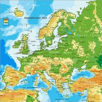 Europa Karte Physisch.Posterlounge Alu Dibond 120 X 120 Cm Europa Physische Karte Von