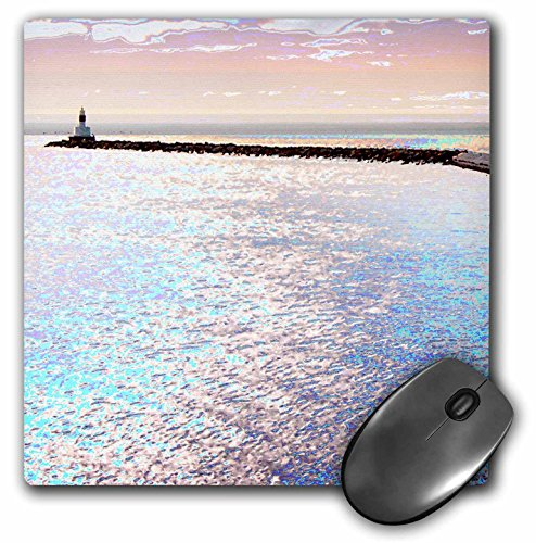 3dRose LLC 8 x 8 x 0.25 Inches Breakwall Reaching into the Waters of Lake Superior in Michigan's Upper Peninsula Mouse Pad (mp_19401_1)