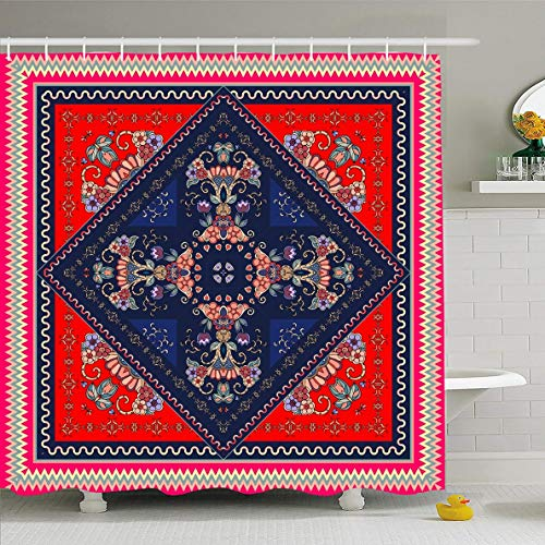 Ahawoso Shower Curtain 72x72 Inches Ethnic Bandana Lovely Oriental Boho Flower Border Carpet Drawing Design Waterproof Polyester Fabric Set with Hooks ()