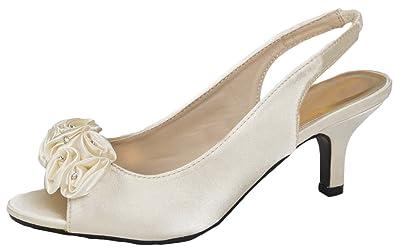 ec7399899e0 WOMENS DIAMANTE LOW HEELS PARTY WEDDING BRIDAL SHOES SATIN SANDALS SLING  BACK PEEPTOES LADIES IVORY SIZE