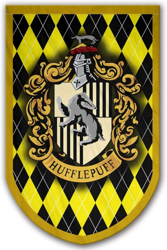 Harry Potter Hufflepuff Banner - Hufflepuff Flag - Printed on Both Sides - Perfect Conditions for Outside - Amazing Gift for All PotterHeads - Unique HP Collectible Accessories (Hufflepuff)