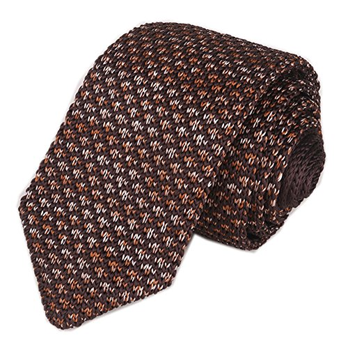 (Mens Brown Iron Red Knit Ties Vintage Woven Casual 2