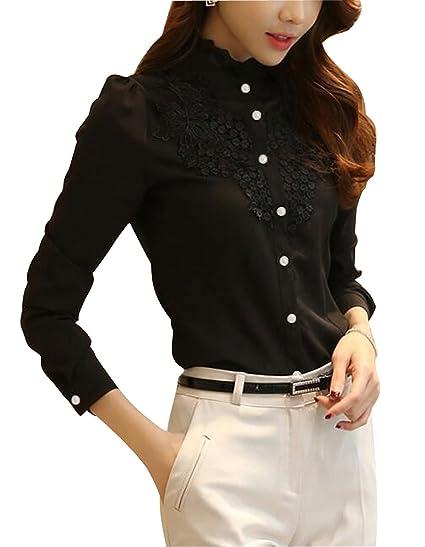 63044b926fe DPO Women's Slim Fit Lace Vintage Elegant Polo Shirt Long Sleeve Blouse Tops
