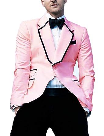b92f024c25 Men's Suits Regular Fit Jacket Blush Lapel Stylish Wedding Party Blazer  Prom Tuxedo for Men Size