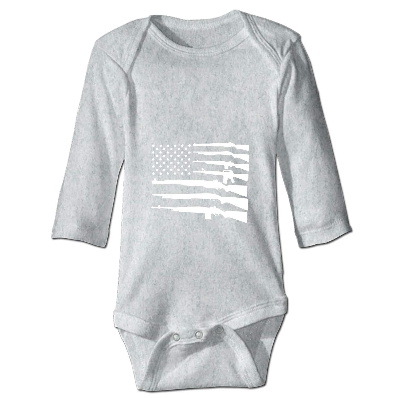 BABBY Never Disarm The American Flag Baby Onesies Long-Sleeve Infant Romper Unisex