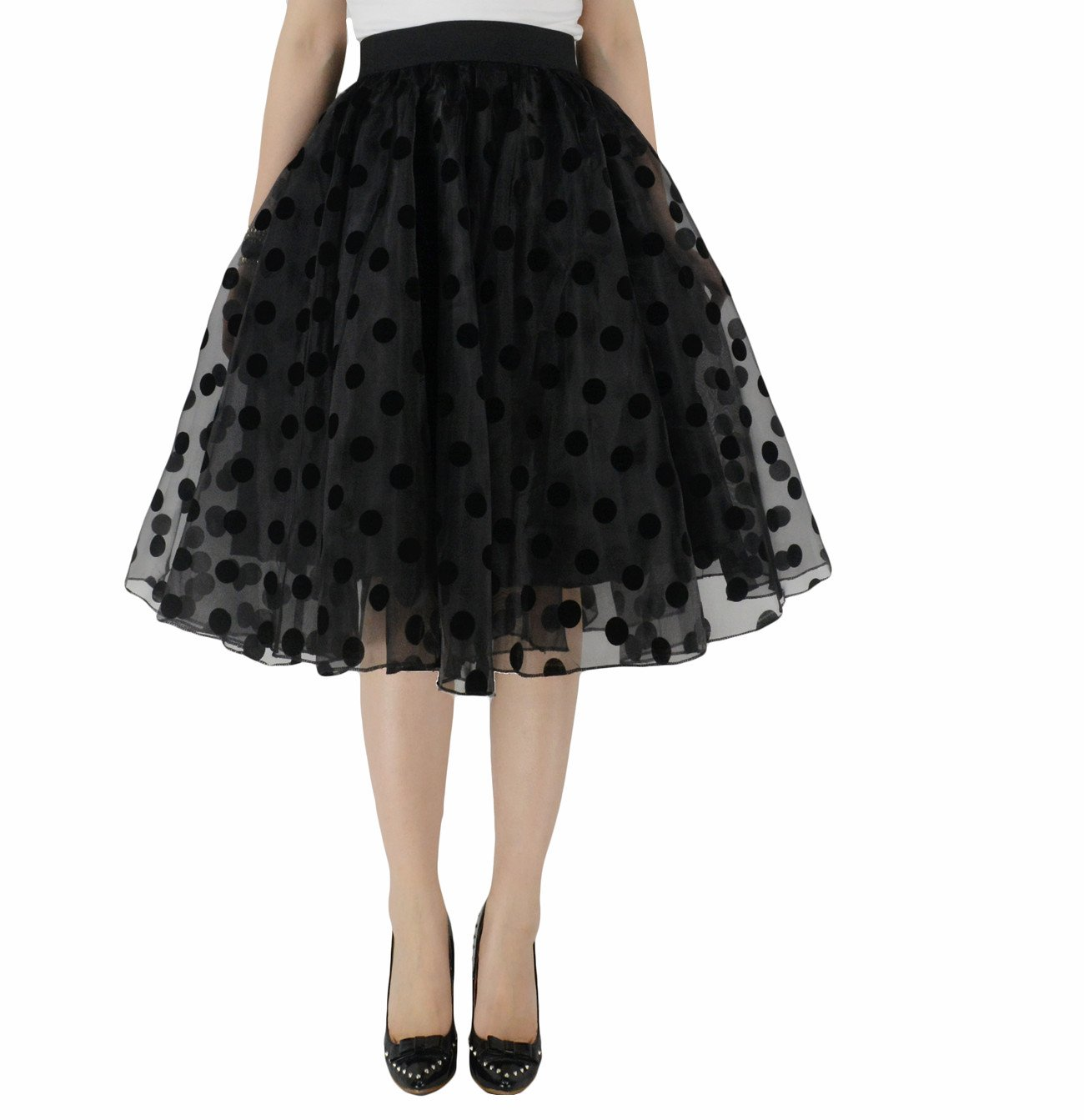 YSJERA Lady's Organza Princess Skirt Bowknot A Line Pleated Midi/Knee Length Tutu Party Skirts (XS, Polka Dot Black)