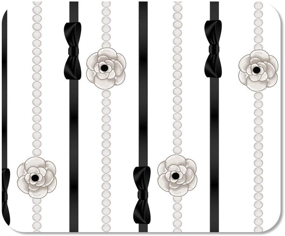 N\A Mousepad Computadora Bloc de Notas Oficina Chanel de Collares de Perlas y Cinta Negra Disposición de Alta Costura Elegancia Elegante Hogar Escuela Juego Jugador Computadora Trabajador