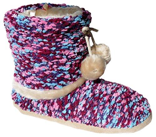 gibra - Zapatillas de estar por casa de tela para mujer bordeaux/rosa/hellblau