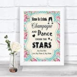 Vintage Shabby Chic Drink Champagne Dance Stars Personalized Wedding Sign