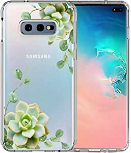 Galaxy S10e Case, Unov Clear with Design Soft TPU Shock Absorption Slim Embossed Pattern Protective Back Cover for Samsung Galaxy S10e 5.8in (Succulent Plant)