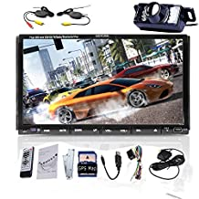 Eincar 7 Inch Touchscreen Car DVD Video Player Bluetooth with Microphone GPS Navigation iPod/iPhone Connection In Dash Double 2Din Windows CE 8.0 Car Stereo Video AM/FM Radio Audio Head Unit+Free Official GPS Navigation SD Map Card+Free Backup Camera
