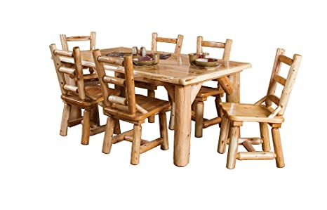 Strange Amazon Com Rustic White Cedar Log Family Dining Table And Camellatalisay Diy Chair Ideas Camellatalisaycom